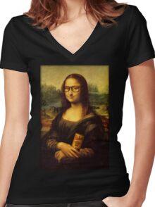 Hipster Lisa Women's Fitted V-Neck T-Shirt