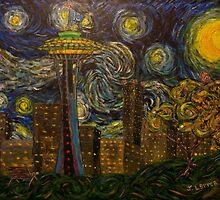 "Dedication to Van Gogh ""Seattle Starry Night"" (2015) by Jack Lepper"