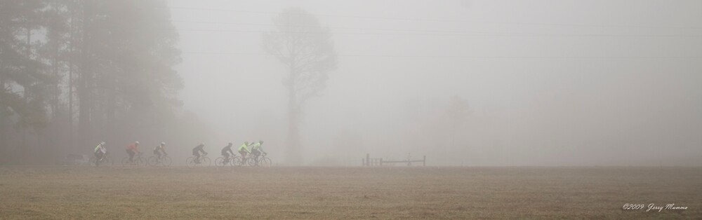 Riders in the fog pano by Jerry  Mumma