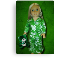 MY IRISH PIJAMAS MY TEDDY AND ME-MAY THE LUCK OF THE IRISH BE WITH U AND WITH ME -PICTURE AND OR CARD Canvas Print