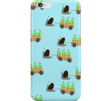 Industrious snail helping in the garden - wallpaper iPhone Case/Skin