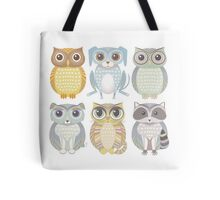 Owls, Dogs, Cat, Raccoon Tote Bag