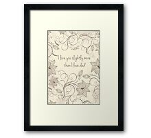 Mothers day - I like you slightly more than dad Framed Print