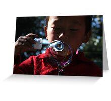 bubble. young tibetan boy, india Greeting Card