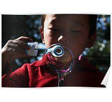 bubble. young tibetan boy, india Poster
