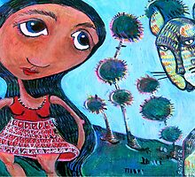 Girl and Cat by Rochele Royster