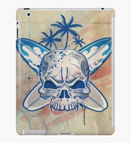 skull on surfboard background iPad Case/Skin