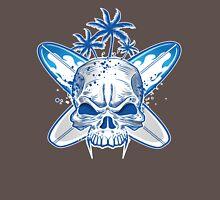skull on surfboard background Unisex T-Shirt