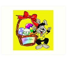 Easter bunny with Easter egg basket Art Print