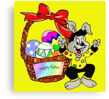 Easter bunny with Easter egg basket Canvas Print