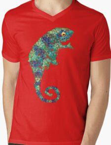 Chameleon Lizard Green Mens V-Neck T-Shirt