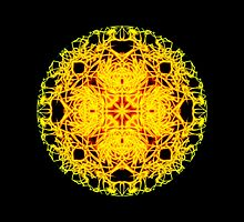 """""""Spirit of India: Cross-Column - Circle"""" in grass green and yellow by FireFairy"""