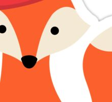 Cute cartoon fox wearing a party hat Sticker