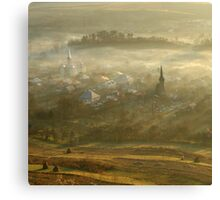 the village born from the fog.... Canvas Print