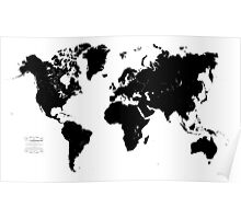 Black & White World Map Poster