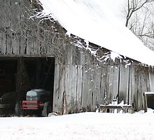 Winter Barn and Tractor by wesbennett100
