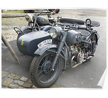 German BMW Motorbike and Sidecar Poster