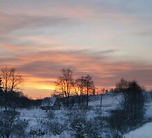 Evening in countryside by Antanas