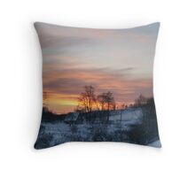Evening in countryside Throw Pillow