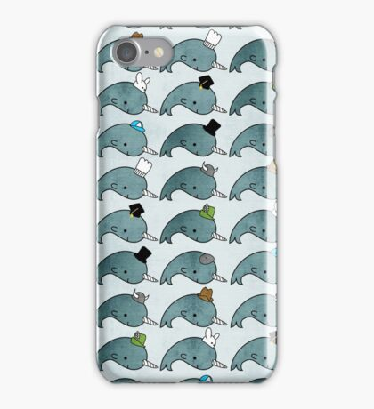 Kawaii Cartoon Grunge Narwhals with hats iPhone Case/Skin