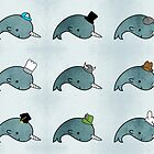 Kawaii Cartoon Grunge Narwhals with hats by hellohappy