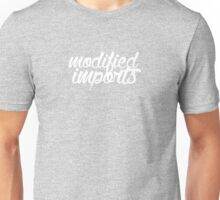 White Text Modified Import (select colored tee) Unisex T-Shirt