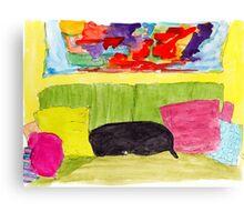 Still Life with Black Dog Canvas Print