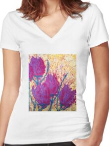 Purple Tulips Women's Fitted V-Neck T-Shirt