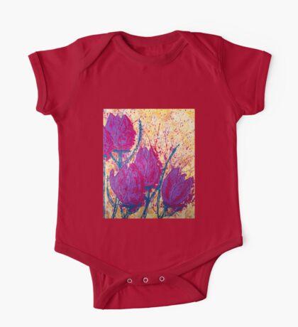 Purple Tulips One Piece - Short Sleeve