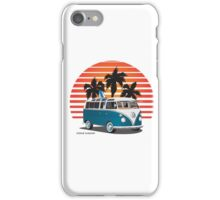 VW Split Bus Teal with Surfboard, Palmes & Sunset iPhone Case/Skin