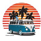 VW Split Bus Teal with Surfboard, Palmes & Sunset by Frank Schuster