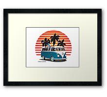 VW Split Bus Teal with Surfboard, Palmes & Sunset Framed Print