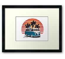 VW Split Bus Teal with Surfboard, Palmes & Sunset Framed Print