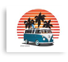 VW Split Bus Teal with Surfboard, Palmes & Sunset Canvas Print