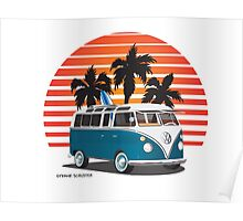 VW Split Bus Teal with Surfboard, Palmes & Sunset Poster