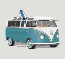 Hippie VW Bus Teal & Surfboard by Frank Schuster