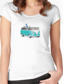 Hippie VW Bus Teal & Surfboard Women's Fitted Scoop T-Shirt