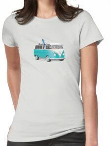 Hippie VW Bus Teal & Surfboard Womens Fitted T-Shirt