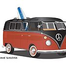 Hippie Split Window VW Bus Red Black & Surfboard by Frank Schuster