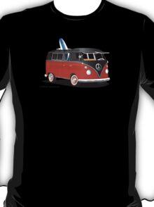 Hippie Split Window VW Bus Red Black & Surfboard T-Shirt