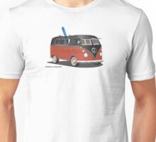 Hippie Split Window VW Bus Red Black & Surfboard Unisex T-Shirt