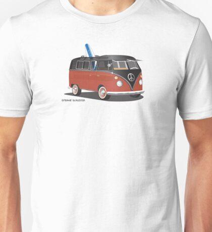 Hippie Split Window VW Bus Red Black & Surfboard Unisex T-Shirt