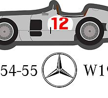 1954-55 Mercedes-Benz W196 Double f1 champion vector by Girafro