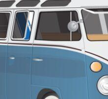Hippie Split Window VW Bus Blue & Surfboard Sticker
