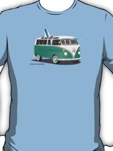 Hippie Split Window VW Bus Green & Surfboard T-Shirt