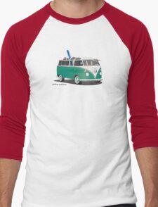 Hippie Split Window VW Bus Green & Surfboard Men's Baseball ¾ T-Shirt