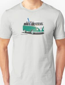 Hippie Split Window VW Bus Green & Surfboard Unisex T-Shirt
