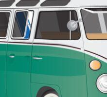 Hippie Split Window VW Bus Green & Surfboard Sticker
