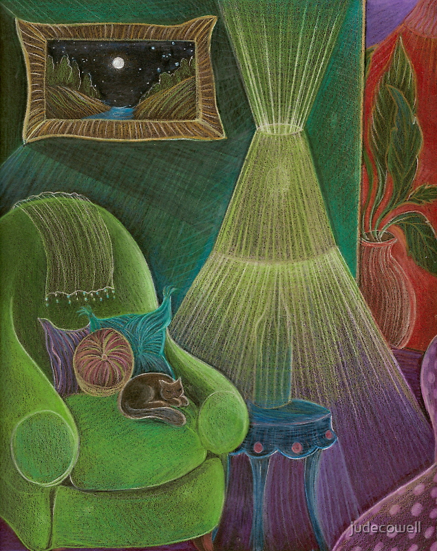 Cat in a Very Green Chair by judecowell