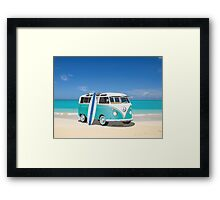 Hippie Split Window VW Bus Teal & Surfboard & Ocean Framed Print